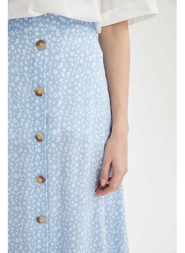 DeFacto A Kesim Volanlı Düğme Detaylı Uzun Etek Mavi